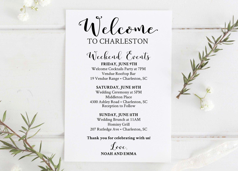 Wedding Weekend Itinerary Template New Wedding Wel E Bag Printable Editable Wedding Itinerary