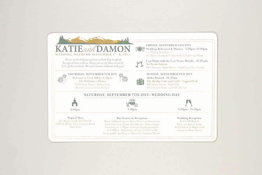 Wedding Weekend Itinerary Template Unique Rustic Colorado Mountain Wedding Day Timeline Card