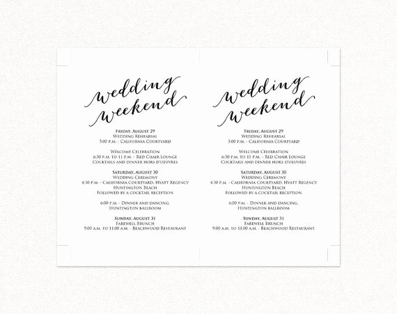 Wedding Weekend Itinerary Template Unique Wedding Weekend Itinerary Details Card Insert Wedding