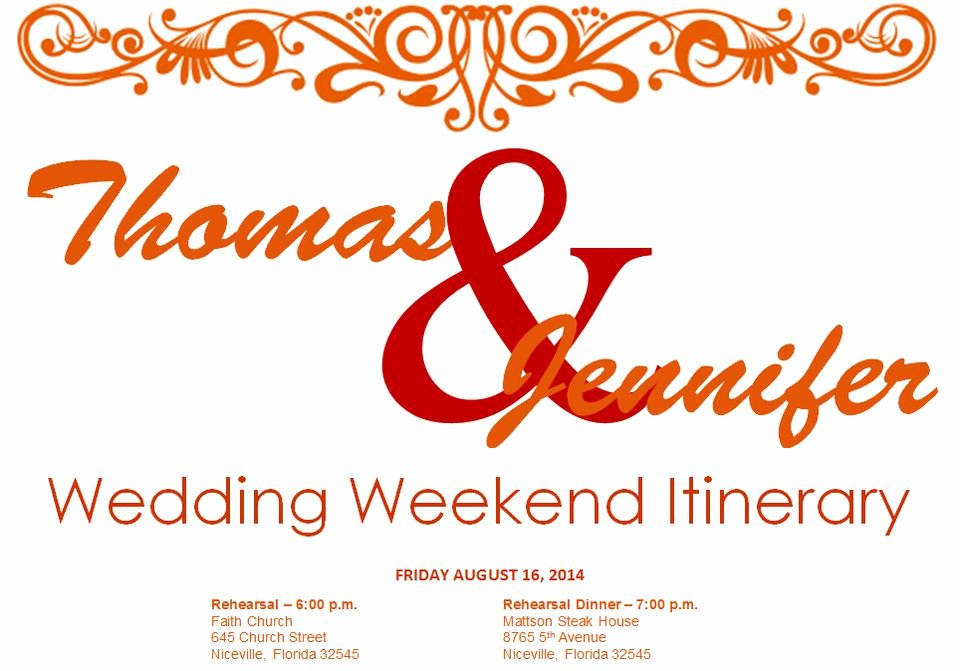 Wedding Weekend Itinerary Templates Awesome Free Wedding Itinerary Templates and Timelines