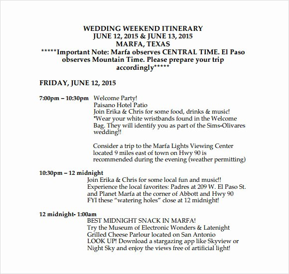 Wedding Weekend Itinerary Templates Beautiful Sample Wedding Weekend Itinerary Template 12 Documents