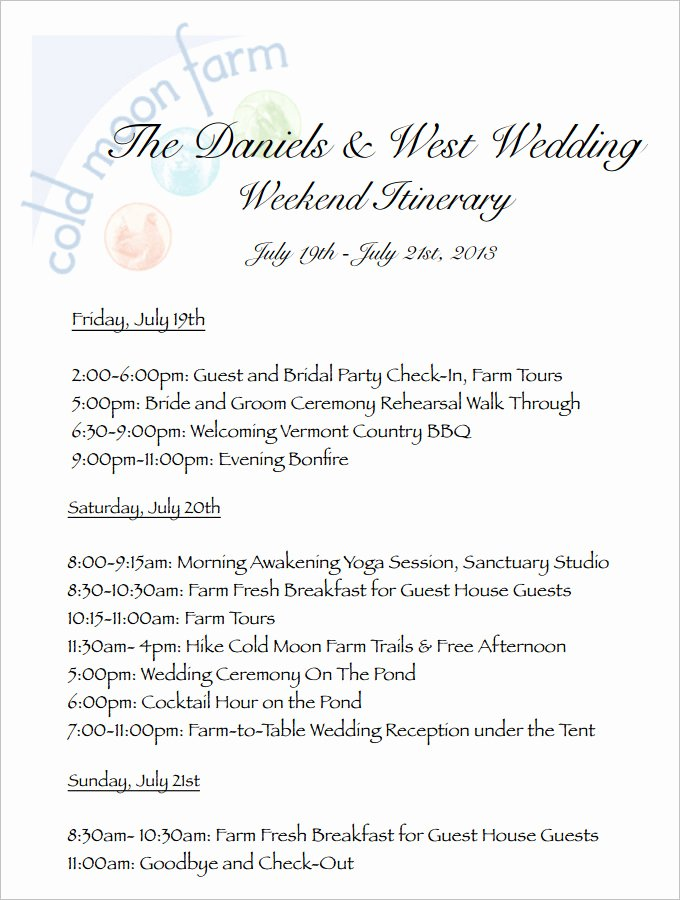 Wedding Weekend Itinerary Templates Elegant 4 Sample Wedding Weekend Itinerary Templates Doc Pdf