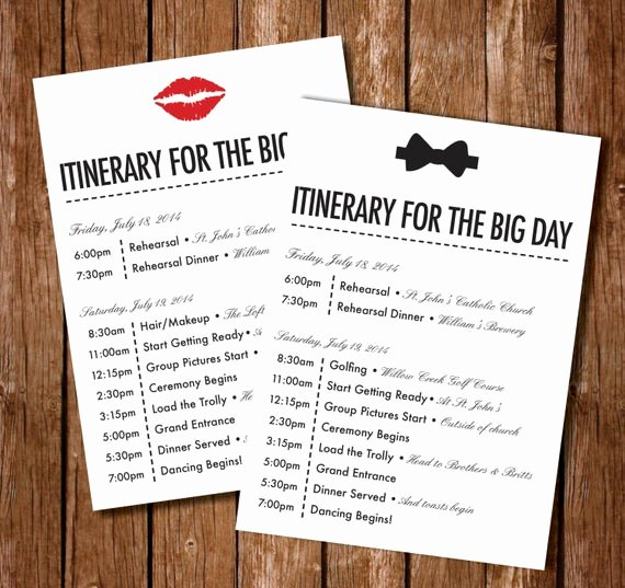 Wedding Weekend Itinerary Templates Elegant Printable Wedding Itinerary