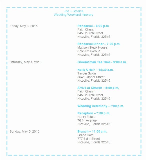 Wedding Weekend Itinerary Templates Elegant Sample Wedding Weekend Itinerary Template 12 Documents