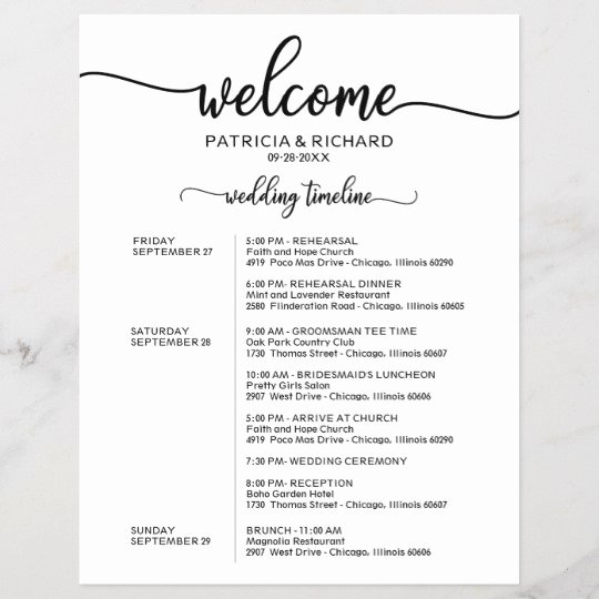 Wedding Weekend Itinerary Templates Fresh Wedding Weekend Itinerary Simple Chic Timeline