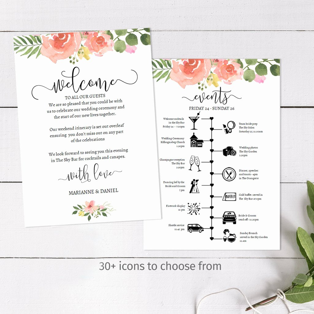 Wedding Weekend Itinerary Templates Inspirational Diy Wedding Weekend Timeline Template Pink Rose Itinerary