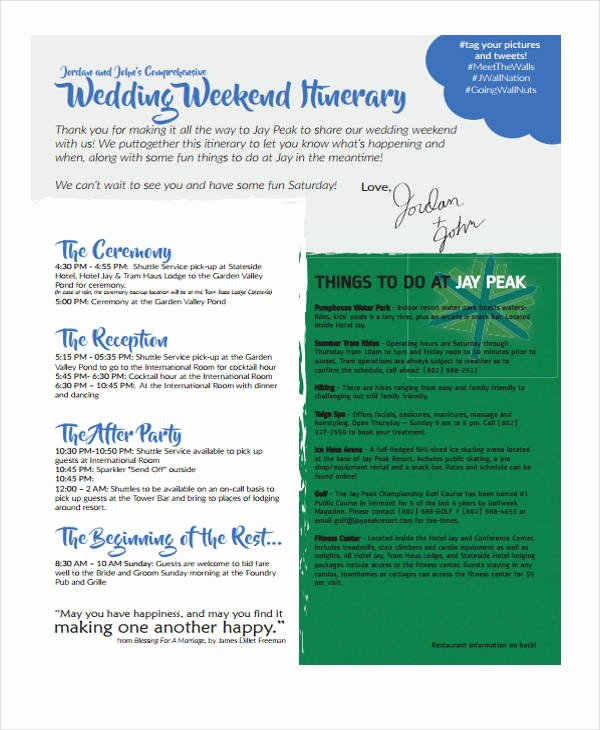 Wedding Weekend Itinerary Templates Lovely 5 Weekend Itinerary Templates Free Sample Example