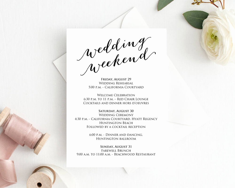 Wedding Weekend Itinerary Templates Lovely Wedding Weekend Itinerary Card · Wedding Templates and