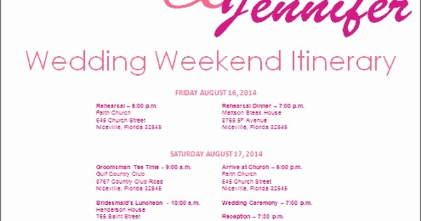 Wedding Weekend Itinerary Templates Luxury Wedding Itinerary Wedding Itinerary Template Bridetodo