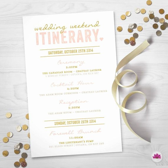 Wedding Weekend Itinerary Templates New Wedding Weekend Itinerary Wedding Day Timeline Digital