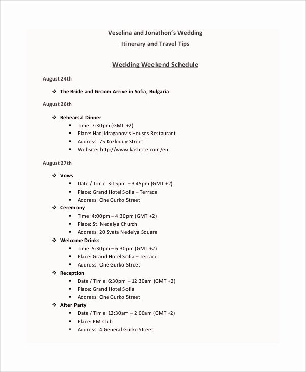 Wedding Weekend Itinerary Templates Unique 7 Wedding Itinerary Template Free Sample Example