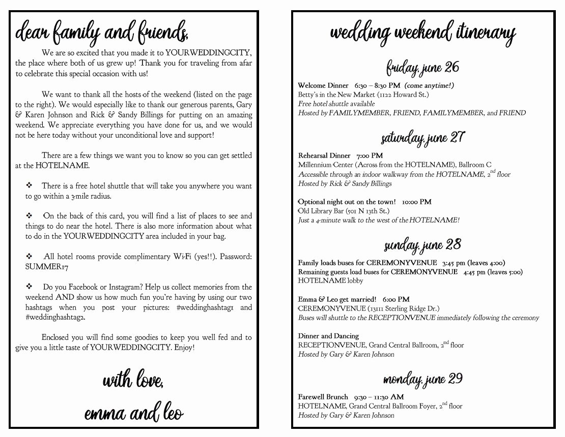 Wedding Weekend Itinerary Templates Unique Wedding Weekend Diy Itinerary Schedule Template by