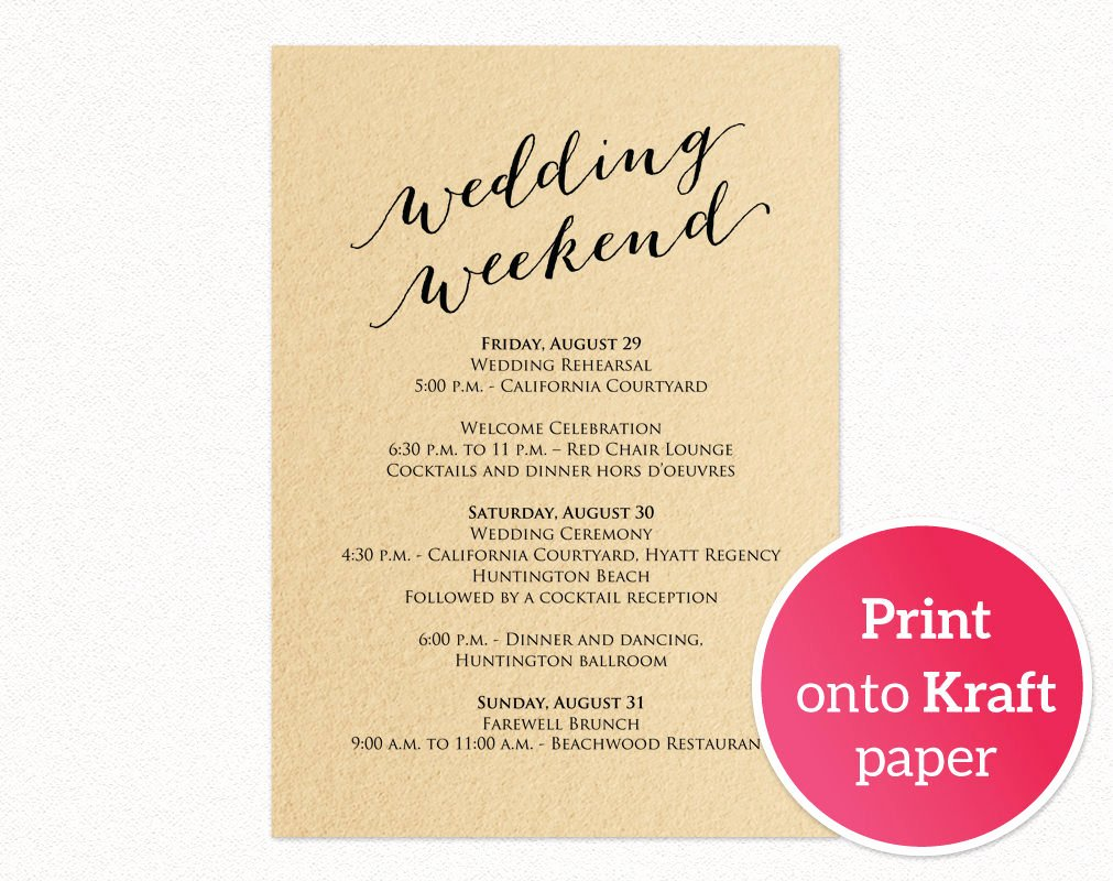 Wedding Weekend Itinerary Templates Unique Wedding Weekend Itinerary Card · Wedding Templates and