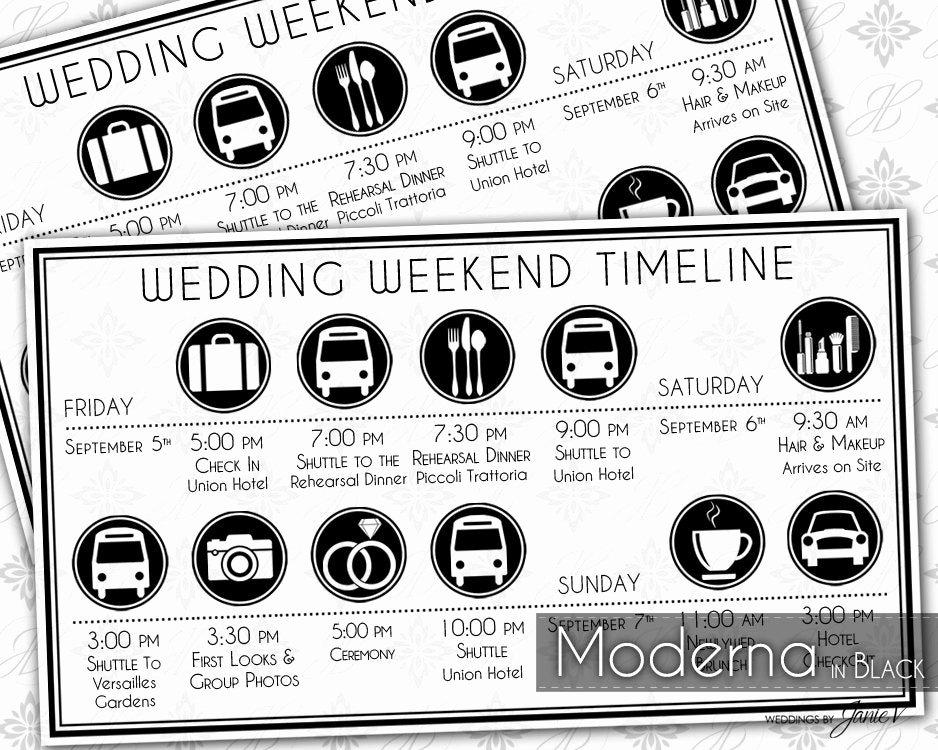 Wedding Weekend Timeline Template Beautiful Printable Wedding Timeline Template Editable Wedding Weekend