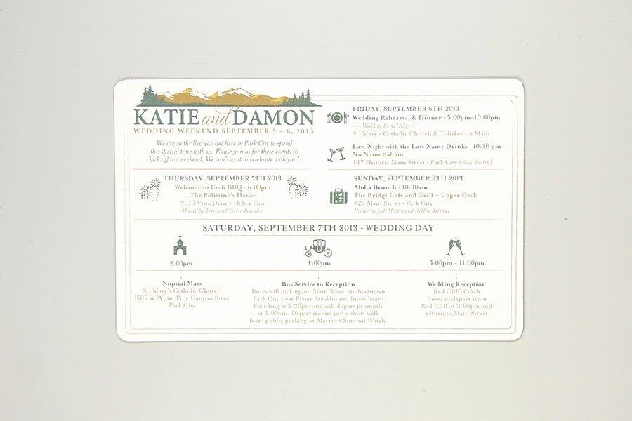 Wedding Weekend Timeline Template Best Of Rustic Colorado Mountain Wedding Day Timeline Card