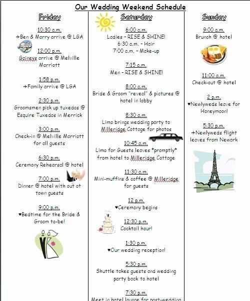 Wedding Weekend Timeline Template Fresh Morning Wedding Timeline I Do Pinterest