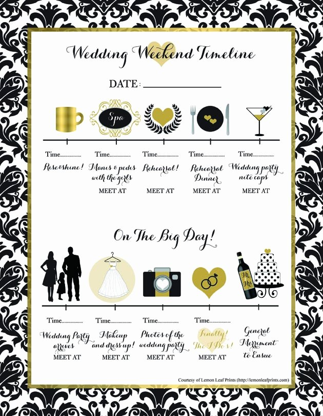 Wedding Weekend Timeline Template Inspirational Free Printable Wedding Weekend Timeline