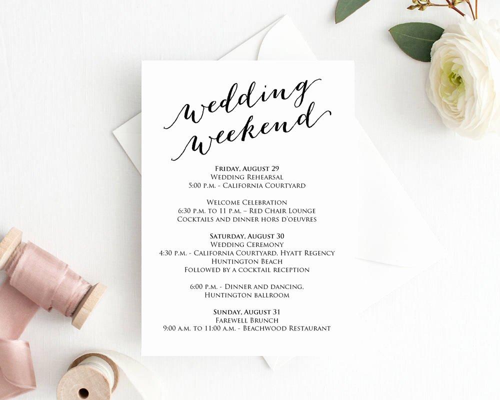 Wedding Weekend Timeline Template Inspirational Wedding Weekend Itinerary Template Wedding Weekend
