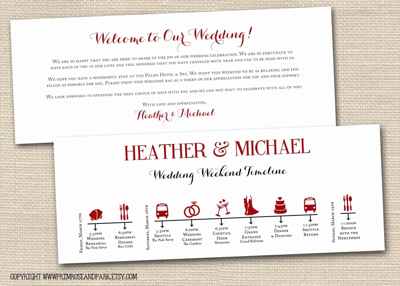 Wedding Weekend Timeline Template Lovely Wedding Weekend Timeline and Wel E Note by Primroseandpark