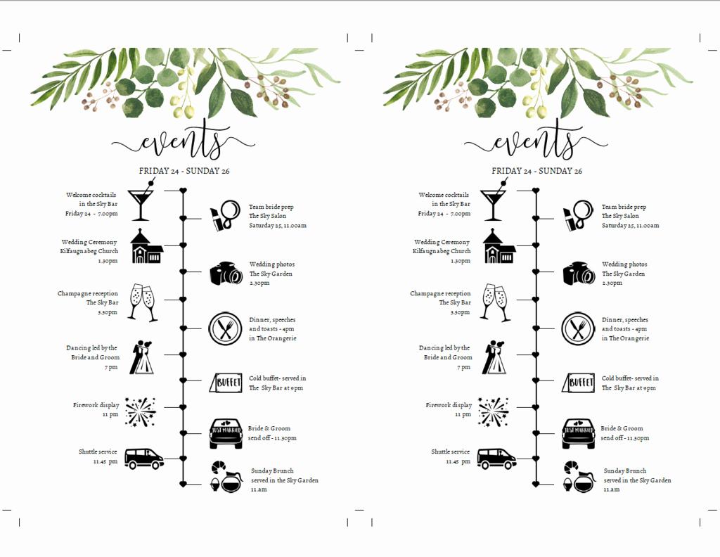 Wedding Weekend Timeline Template New Wedding Weekend Timeline Diy Greenery Itinerary Template