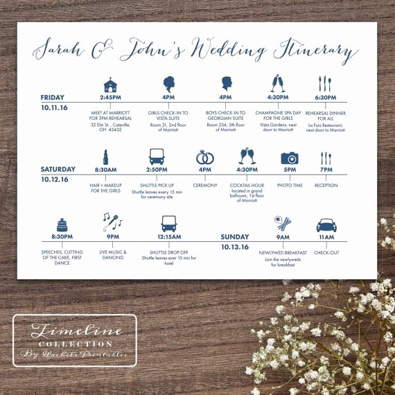 Wedding Weekend Timeline Template Unique Printable Wedding Timeline Day Itinerary Schedule Card
