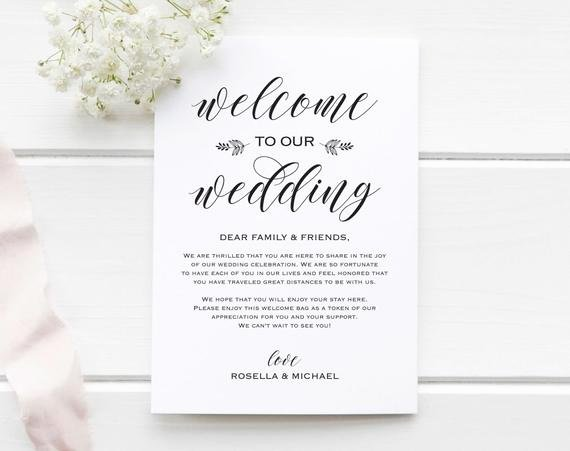Wedding Welcome Letter Template Awesome Wedding Wel E Bag Note Wel E Bag Letter Wedding