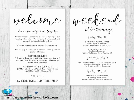 Wedding Welcome Letter Template Beautiful Diy Wedding Wel E Bag Note Wel E Bag Letter Printable