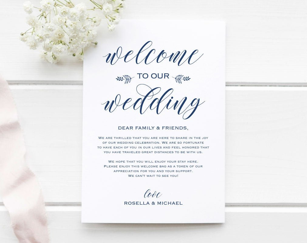 Wedding Welcome Letter Template Beautiful Navy Blue Wedding Wel E Bag Note Wel E Bag Letter