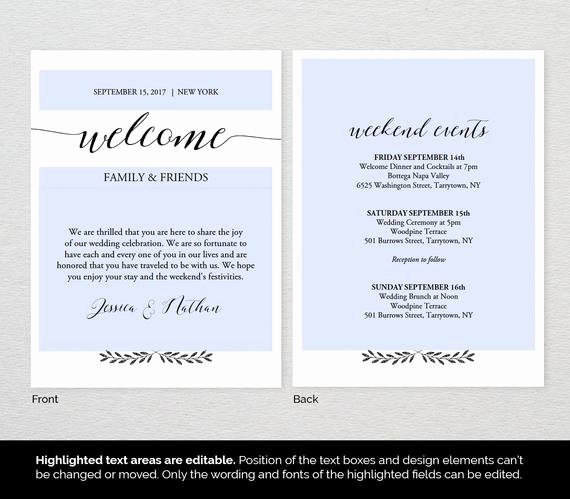 Wedding Welcome Letter Template Best Of Wel E Bag Letter Template Wedding Wel E by