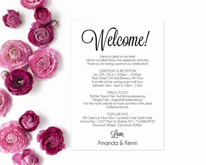 Wedding Welcome Letter Template Elegant Itinerary Wedding Wel E Letter Wedding by Modernsoiree