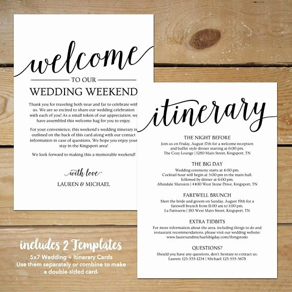 Wedding Welcome Letter Template Elegant Wedding Itinerary Template Printable Wedding Wel E