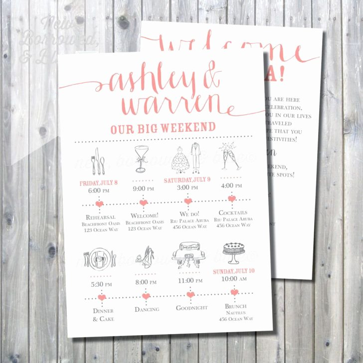 Wedding Welcome Letter Template Elegant Wedding Printable Make Your Own Wedding Itinerary