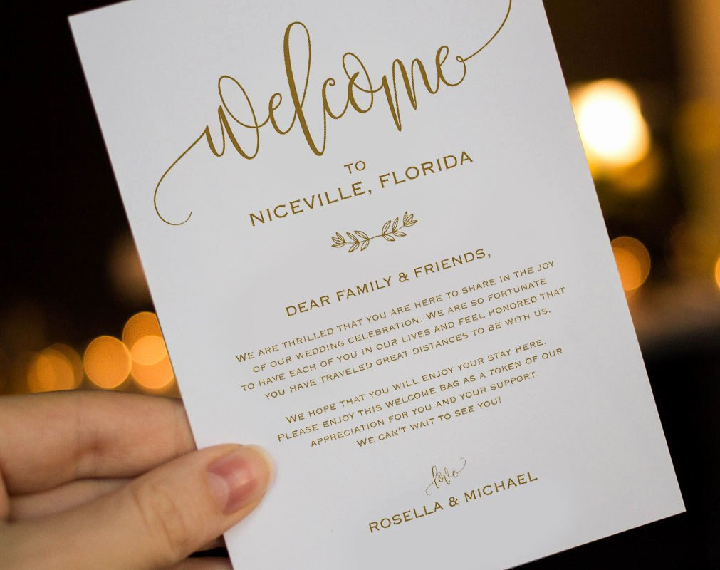Wedding Welcome Letter Template Fresh Gold Wedding Wel E Bag Note Wel E Bag Letter Wedding