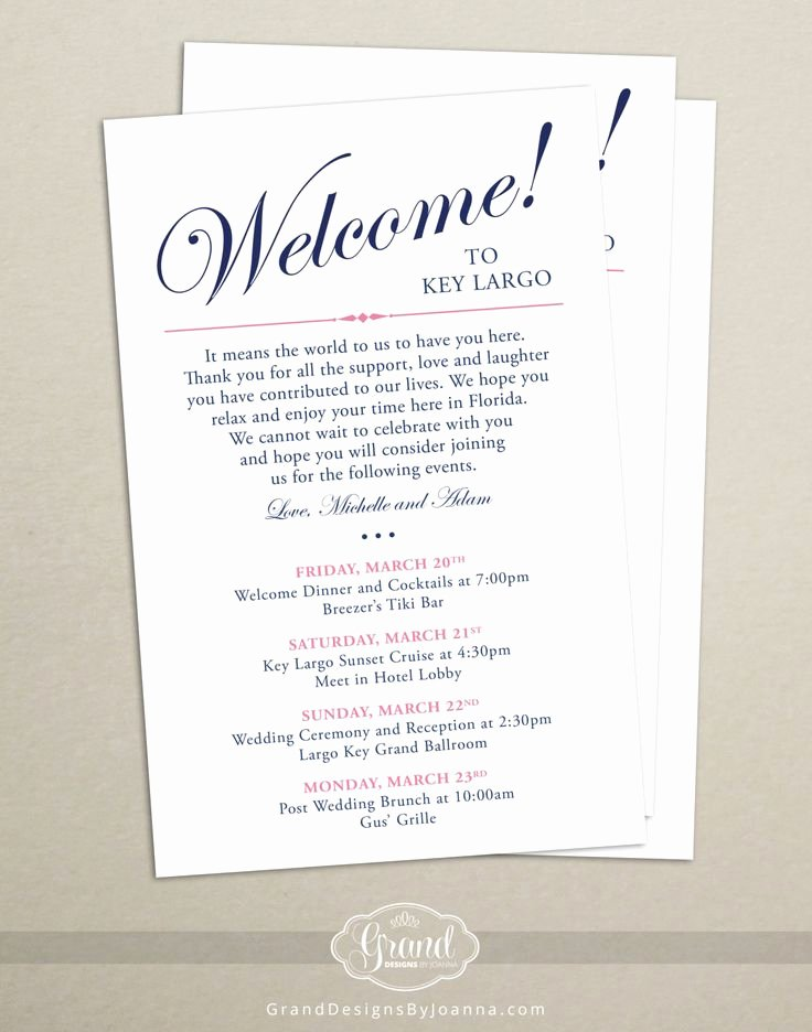 Wedding Welcome Letter Template Inspirational Itinerary Cards for Wedding Hotel Wel E Bag Printed
