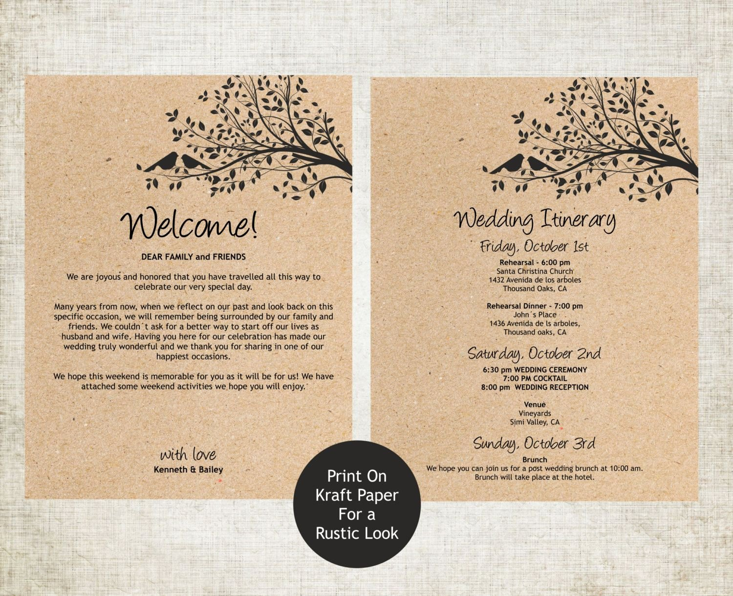 Wedding Welcome Letter Template Inspirational Wedding Wel E Letter and Itinerary Template by