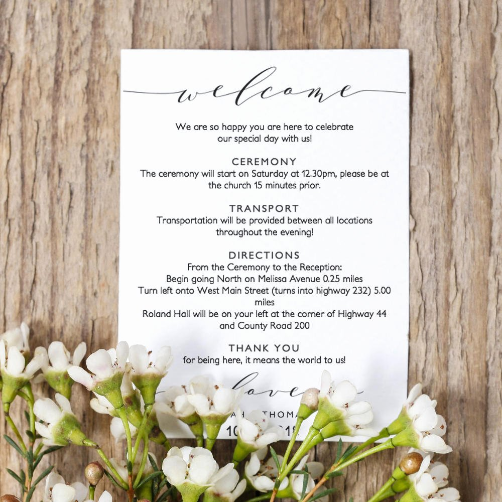 Wedding Welcome Letter Template Inspirational Wel E Itinerary 5x7 Wedding Guest Note Wel E Letter