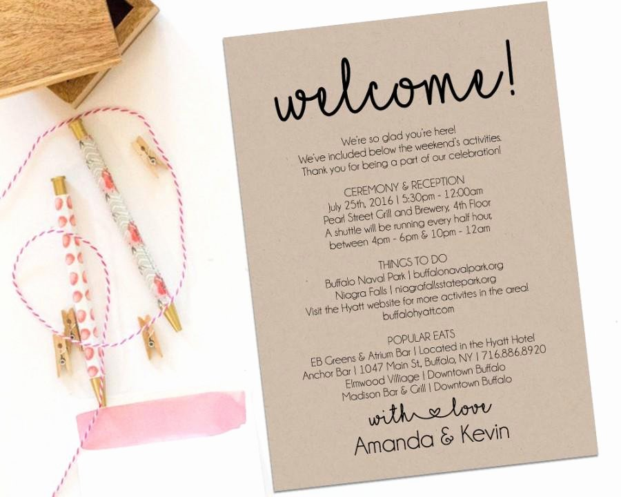 Wedding Welcome Letter Template Luxury Wedding Wel E Bag Itinerary Template