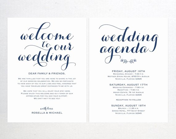 Wedding Welcome Letter Template New Navy Blue Wedding Wel E Bag Note Wel E Bag Letter