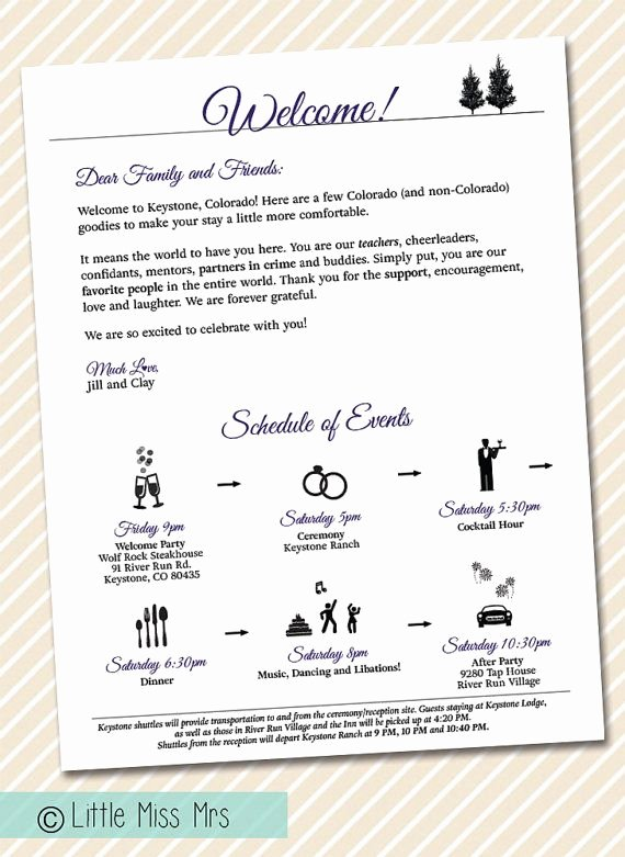 Wedding Welcome Letter Template New Wedding Wel E Letter Timeline Of events by Littlemissmrs