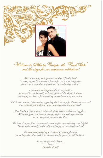 Wedding Welcome Letter Template Unique Indian Wedding Wel E Letter