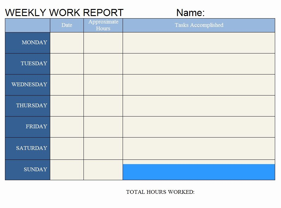 weekly work report word template