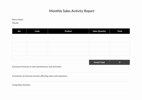 Weekly Activity Report Template Excel New 32 Monthly Sales Report Templates Word Pdf Google