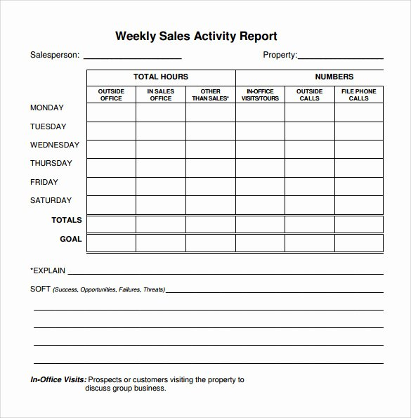 Weekly Activity Report Template Excel Unique Free 25 Sample Weekly Report Templates In Docs