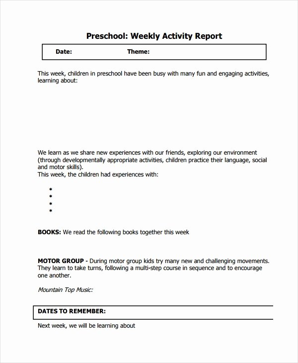 Weekly Activity Report Template Inspirational 32 Report Templates Free Sample Example format