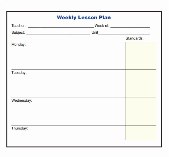 Weekly Lesson Plan Template Doc Awesome Free 8 Sample Lesson Plans In Pdf