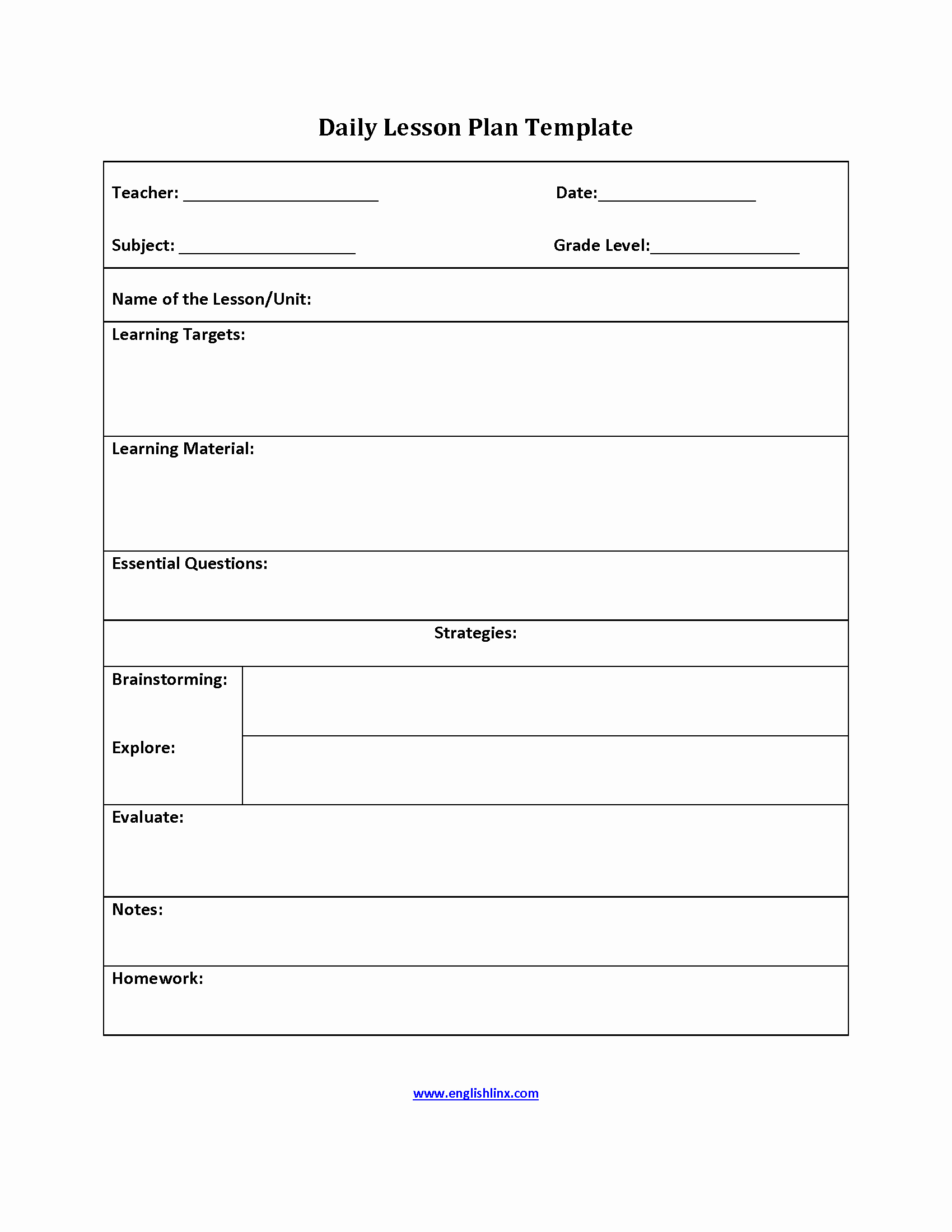 Weekly Lesson Plan Template Doc Fresh Simple Lesson Plan Template for Teachers – Simple Lesson