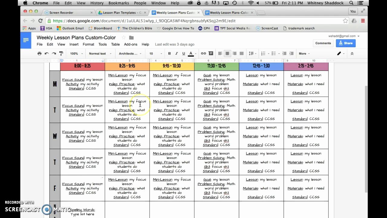 Weekly Lesson Plan Template Doc Luxury Lesson Plan Templates Google Drive