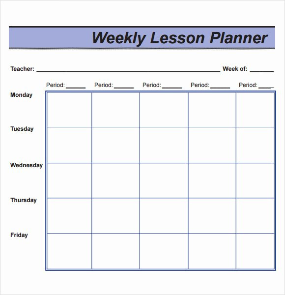 Weekly Lesson Plan Template New Free 8 Sample Lesson Plans In Pdf