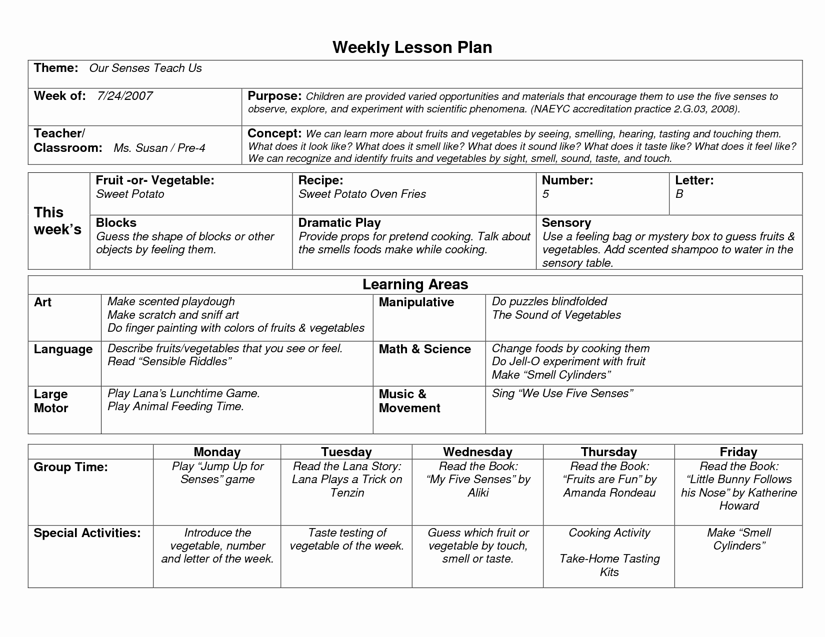 Weekly Lesson Plan Template New Naeyc Lesson Plan Template for Preschool