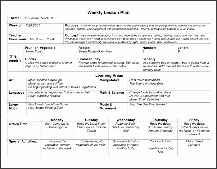 Weekly Lesson Plan Template Pdf Awesome 9 Blank Preschool Lesson Plan Template Pdf